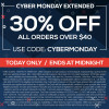 CYBER TUESDAY ! Deals extended through Tuesday 11/29 @11:59pm HST. 30% off $40+ orders.