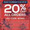Final Day To Save 20% -SHOP NOW – Ends 12-15-2016 @ 5:30AM ET