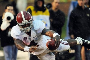 Oct 13, 2012; Columbia, MO, USA; Alabama Crimson Tide running back T.J. Yeldon (4) runs in for a touchdown in the second quarter of the game against the Missouri Tigers at Farout Field. Mandatory Credit: Denny Medley-US PRESSWIRE