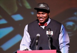 Feb 6, 2013; Muscle Shoals, AL, USA; Muscle Shoals High School defensive tackle Dee Liner announces his intentions to attended Alabama on national signing day. Photo Credit: Marvin Gentry-USA TODAY Sports