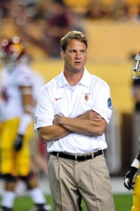 Sep 28, 2013; Tempe, AZ, USA; USC Trojans head coach Lane Kiffin looks on prior to the game against the Arizona State Sun Devils at Sun Devil Stadium. Mandatory Credit: Matt Kartozian-USA TODAY Sports