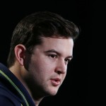 Feb 21, 2014; Indianapolis, IN, USA; Alabama Crimson Tide quarterback A.J. McCarron speaks to the media in a press conference during the 2014 NFL Combine at Lucas Oil Stadium. Mandatory Credit: Brian Spurlock-USA TODAY Sports