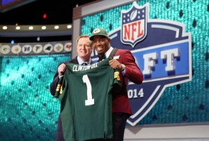 May 8, 2014; New York, NY, USA; Ha Ha Clinton-Dix (Alabama) poses for a photo with commissioner Roger Goodell after being selected as the number twenty-one overall pick in the first round of the 2014 NFL Draft to the Green Bay Packers at Radio City Music Hall. Mandatory Credit: Adam Hunger-USA TODAY Sports