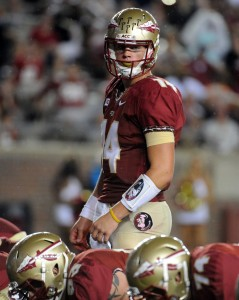 Sep 21, 2013; Tallahassee, FL, USA; Florida State Seminoles quarterback Jacob Coker (14) prepares to snap the ball during the second half of the game against the Bethune-Cookman Wildcats at Doak Campbell Stadium. Mandatory Credit: Melina Vastola-USA TODAY Sports