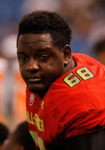 Jan 2, 2014; St. Petersburg, FL, USA; Team Highlight tackle Cameron Robinson (68) during the first half at Tropicana Field. Mandatory Credit: Kim Klement-USA TODAY Sports
