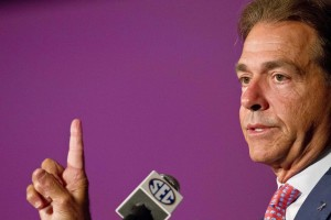 Jul 17, 2014; Hoover, AL, USA; Alabama Crimson Tide head coach Nick Saban talks to the media during the SEC football media days at the Wynfrey Hotel. Mandatory Credit: Marvin Gentry-USA TODAY Sports