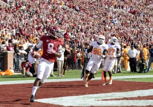 Oct 26, 2013; Tuscaloosa, AL, USA; Alabama Crimson Tide wide receiver Amari Cooper (9) enters the end zone on his 54-yard touchdown against the Tennessee Volunteers during the first quarter at Bryant-Denny Stadium. Mandatory Credit: John David Mercer-USA TODAY Sports