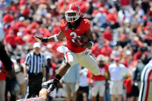 Apr 12, 2014; Athens, GA, USA; Georgia Bulldogs running back Todd Gurley (3) runs for the red team during the first half of the Georgia Spring Game at Sanford Stadium. Mandatory Credit: Dale Zanine-USA TODAY Sports