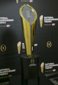Jul 14, 2014; Irving, TX, USA; The new college football playoff championship trophy unveiled during a press conference at the college football playoff headquarters. Mandatory Credit: Kevin Jairaj-USA TODAY Sports