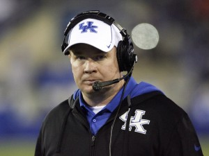 Nov 30, 2013; Lexington, KY, USA; Kentucky Wildcats head coach Mark Stoops during the game against the Tennessee Volunteers in the second half at Commonwealth Stadium. Tennessee defeated Kentucky 27-14. Mandatory Credit: Mark Zerof-USA TODAY Sports