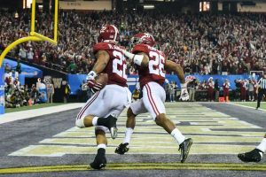 Dec 31, 2016; Atlanta, GA, USA; Alabama Crimson Tide linebacker Ryan Anderson (22) scores a touchdown during the second quarter of the 2016 CFP Semifinal against the Washington Huskies at the Georgia Dome. Mandatory Credit: RVR Photos-USA TODAY Sports