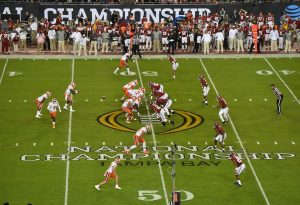 Jan 9, 2017; Tampa, FL, USA; A general view as the Clemson Tigers line up against the Alabama Crimson Tide in the 2017 College Football Playoff National Championship Game at Raymond James Stadium. Mandatory Credit: Jasen Vinlove-USA TODAY Sports