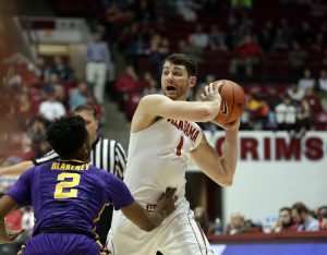 Feb 18, 2017; Tuscaloosa, AL, USA; Alabama Crimson Tide guard Riley Norris (1) looks to pass the ball against LSU Tigers guard Antonio Blakeney (2) during the second half at Coleman Coliseum. The Tide defeated the Tigers 90-72. Mandatory Credit: Marvin Gentry-USA TODAY Sports