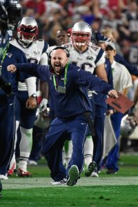 Feb 1, 2015; Glendale, AZ, USA; New England Patriots tight ends coach Brian Daboll during Super Bowl XLIX against the Seattle Seahawks at University of Phoenix Stadium. The Patriots defeated the Seahawks 28-24. Mandatory Credit: Kyle Terada-USA TODAY Sports