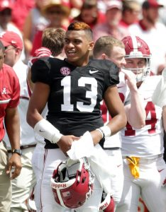 Apr 22, 2017; Tuscaloosa, AL, USA; Alabama Crimson Tide quarterback Tua Tagovailoa (13) during the A-day game at Bryant Denny Stadium. Mandatory Credit: Marvin Gentry-USA TODAY Sports