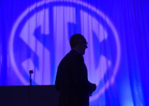 Jul 13, 2017; Hoover, AL, USA; SEC commissioner Greg Sankey prepares to speak to media during SEC Media Days at the Hyatt Regency Birmingham-The Winfrey Hotel. Mandatory Credit: Adam Hagy-USA TODAY Sports