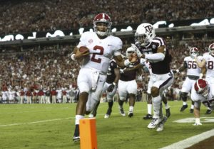 Oct 7, 2017; College Station, TX, USA; Alabama Crimson Tide quarterback Jalen Hurts (2) runs for a touchdown during the second quarter against the Texas A&M Aggies at Kyle Field. Mandatory Credit: Troy Taormina-USA TODAY Sports