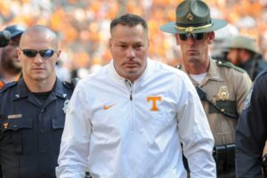 Oct 14, 2017; Knoxville, TN, USA; Tennessee Volunteers head coach Butch Jones leaves the field after the game against the South Carolina Gamecocks at Neyland Stadium. South Carolina won 15 to 9. Mandatory Credit: Randy Sartin-USA TODAY Sports
