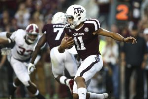 Oct 7, 2017; College Station, TX, USA; Texas A&M Aggies quarterback Kellen Mond (11) runs with the ball during the first quarter against the Alabama Crimson Tide at Kyle Field. Mandatory Credit: Troy Taormina-USA TODAY Sports