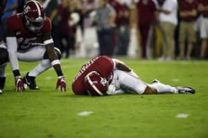Nov 4, 2017; Tuscaloosa, AL, USA; Alabama Crimson Tide defensive back Minkah Fitzpatrick (29) lay on the field during the first quarter against the LSU Tigers at Bryant-Denny Stadium. Mandatory Credit: Adam Hagy-USA TODAY Sports