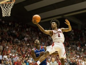 Nov 29, 2017; Tuscaloosa, AL, USA; Alabama Crimson Tide guard Collin Sexton (2) goes to the basket and is fouled by Louisiana Tech Bulldogs guard Derric Jean (1) during the second half at Coleman Coliseum. Mandatory Credit: Marvin Gentry-USA TODAY Sports