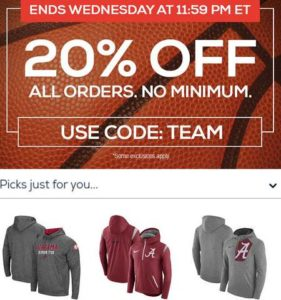 TideFansStore.com : 11/8/17 - 20% off ALL orders with code TEAM