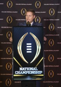 Dec 4, 2016; Grapevine, TX, USA; College football playoff selection committee chairman Kirby Hocutt speaks to the media during selection Sunday at the Gaylord Texan Hotel. Mandatory Credit: Kevin Jairaj-USA TODAY Sports