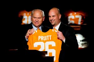 Dec 7, 2017; Knoxville, TN, USA; University of Tennessee Athletic Director Phillip Fulmer (left) introduces Jeremy Pruitt (right) during his introduction ceremony as Tennessee's next head football coach at the Neyland Stadium. Mandatory Credit: Calvin Mattheis/Knoxville News Sentinel via USA TODAY NETWORK