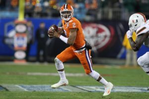 Dec 2, 2017; Charlotte, NC, USA; Clemson Tigers quarterback Kelly Bryant (2) scrambles during the second quarter of the ACC championship game against the Miami Hurricanes at Bank of America Stadium. Mandatory Credit: Jim Dedmon-USA TODAY Sports
