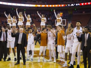 Dec 16, 2017; Austin, TX, USA; The Texas Longhorns sing The Eyes of Texas are Upon You after defeating the Louisiana Tech Bulldogs 75-60 at Frank Erwin Center. Mandatory Credit: John Gutierrez-USA TODAY Sports
