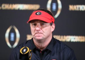 Jan 8, 2018; Atlanta, GA, USA; Georgia Bulldogs head coach Kirby Smart reacts at the press conference after the 2018 CFP national championship college football game against the Alabama Crimson Tide at Mercedes-Benz Stadium. Mandatory Credit: Mark J. Rebilas-USA TODAY Sports