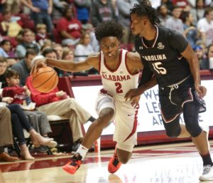 Jan 9, 2018; Tuscaloosa, AL, USA; Alabama Crimson Tide guard Collin Sexton (2) drives to the basket against South Carolina Gamecocks guard Wesley Myers (15) during the second half at Coleman Coliseum. Mandatory Credit: Marvin Gentry-USA TODAY Sports
