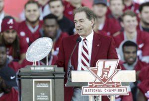 Jan 20, 2018; Tuscaloosa, AL, USA; Alabama Crimson Tide head coach Nick Saban speaks to the crowd at the Alabama Crimson Tide National Championship Celebration at Bryant-Denny Stadium. Mandatory Credit: Marvin Gentry-USA TODAY Sports