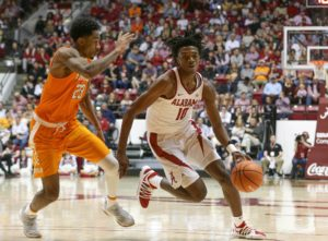 Feb 10, 2018; Tuscaloosa, AL, USA; Alabama Crimson Tide guard Herbert Jones (10) drives to the basket against Tennessee Volunteers guard Jordan Bowden (23) during the second half at Coleman Coliseum. Mandatory Credit: Marvin Gentry-USA TODAY Sports