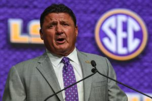 Jul 16, 2018; Atlanta, GA, USA; LSU Tigers head coach Ed Orgeron talks to the media during SEC football media day at the College Football Hall of Fame. Mandatory Credit: Dale Zanine-USA TODAY Sports