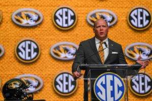 Jul 18, 2018; Atlanta, GA, USA; Missouri Tigers head coach Barry Odom speaks to the media from the main stage during SEC football media day at the College Football Hall of Fame. Mandatory Credit: Dale Zanine-USA TODAY Sports