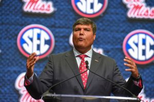 Jul 17, 2018; Atlanta, GA, USA; Mississippi Rebels head coach Matt Luke addresses the media during SEC football media day at the College Football Hall of Fame. Mandatory Credit: Dale Zanine-USA TODAY Sports