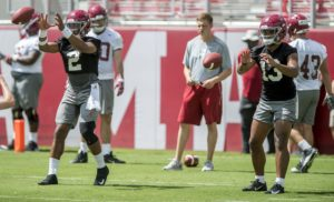 Aug 4, 2018; Tuscaloosa, AL, USA; Alabama Crimson Tide quearterbacks Jalen Hurts (2) and Tua Tagovailoa (13) take snaps side by side as the Alabama Crimson Tide football team holds practice at Bryant-Denny Stadium. Mandatory credit: Mickey Welsh/Advertiser via USA TODAY NETWORK