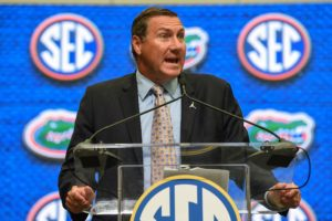 Jul 17, 2018; Atlanta, GA, USA; Florida Gators head coach Dan Mullen addresses the media during SEC football media day at the College Football Hall of Fame. Mandatory Credit: Dale Zanine-USA TODAY Sports