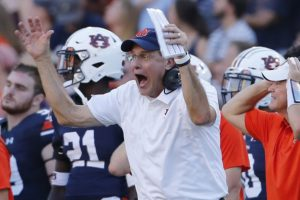 Sep 15, 2018; Auburn, AL, USA; Auburn Tigers head coach Gus Malzahn reacts to a pass interference call during the fourth quarter against LSU at Jordan-Hare Stadium. LSU beat Auburn 22-21. Mandatory Credit: John Reed-USA TODAY Sports