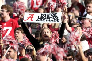 Nov 24, 2018; Tuscaloosa, AL, USA; An Alabama Crimson Tide holds up a sign during the game against the Auburn Tigers at Bryant-Denny Stadium. Mandatory Credit: Marvin Gentry-USA TODAY Sports