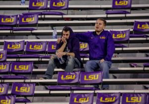 Nov 3, 2018; Baton Rouge, LA, USA; LSU Tigers fans sit in the stands after the game against the Alabama Crimson Tide at Tiger Stadium. Mandatory Credit: Derick E. Hingle-USA TODAY Sports