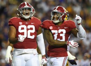 Nov 3, 2018; Baton Rouge, LA, USA; Alabama Crimson Tide defensive lineman Quinnen Williams (92) celebrates his sack on LSU Tigers quarterback Joe Burrow (9) during the third quarter at Tiger Stadium. Mandatory Credit: John David Mercer-USA TODAY Sports
