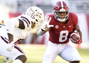 Nov 10, 2018; Tuscaloosa, AL, USA; Alabama Crimson Tide running back Josh Jacobs (8) carries the ball against the Mississippi State Bulldogs during the first quarter at Bryant-Denny Stadium. Mandatory Credit: John David Mercer-USA TODAY Sports