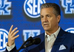 Oct 17, 2018; Birmingham, AL, USA; Kentucky Wildcats head coach John Calipari speaks to the media during the SEC men's basketball media day at Grand Bohemian Hotel Mountain Brook. Mandatory Credit: Vasha Hunt-USA TODAY Sports