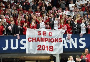 Dec 1, 2018; Atlanta, GA, USA; Alabama Crimson Tide fans in the stands display a SEC champions banner after defeating the Georgia Bulldogs in the SEC championship game at Mercedes-Benz Stadium. Mandatory Credit: Dale Zanine-USA TODAY Sports