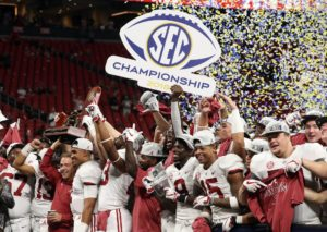 Dec 1, 2018; Atlanta, GA, USA; Alabama Crimson Tide head coach Nick Saban and quarterback Jalen Hurts (2) celebrate after defeating the Georgia Bulldogs in the SEC championship game at Mercedes-Benz Stadium. Mandatory Credit: Jason Getz-USA TODAY Sports