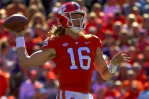 Nov 3, 2018; Clemson, SC, USA; Clemson Tigers quarterback Trevor Lawrence (16) passes the ball during the first half against the Louisville Cardinals at Clemson Memorial Stadium. Mandatory Credit: Joshua S. Kelly-USA TODAY Sports