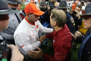 Jan 1, 2018; New Orleans, LA, USA; Clemson Tigers head coach Dabo Swinney greets Alabama Crimson Tide head coach Nick Saban after the game in the 2018 Sugar Bowl college football playoff semifinal game at Mercedes-Benz Superdome. Mandatory Credit: Chuck Cook-USA TODAY Sports