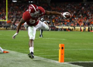 Jan 7, 2019; Santa Clara, CA, USA; Alabama Crimson Tide running back Damien Harris (34) dives for the end zone against the Clemson Tigers during the fourth quarter in the 2019 College Football Playoff Championship game at Levi's Stadium. Mandatory Credit: Mark Rebilas-USA TODAY Sports